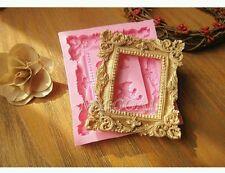 Nuevo Marco de Imagen de Espejo clásica desplazamiento de Silicona Molde Pastel Fondant Chocolate UK