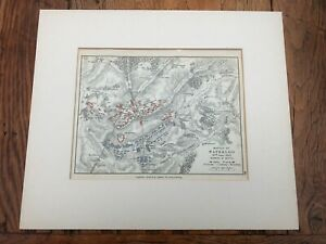 1907 mounted map of the battle of waterloo .18th june 1815 morning of the battle