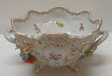 Dresden Bowl Applied Flowers Cut Out Sides Scalloped Rim Footed with Handles