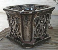 """Wonderful Ceramic Orchid Pot w/ saucer, 4"""" tall, 5"""" across NEW Two Tone Browns"""