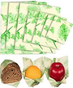 Organic Beeswax Food Wraps - Reusable Beeswax Paper Wrap (Leaves / Bees 7 Wraps)