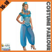 Womens Sexy Blue Genie Jasmine Aladdin Ladies Fancy Dress Costume Size 16 - 18