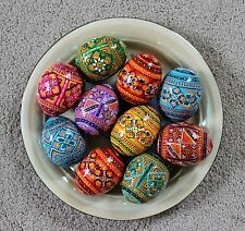 Ukrainian 10 Wooden Painted Easter Pysanka Pysanky Pisanki Large Chicken Size