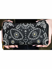 Loungefly Embroidered Sugar Skull Cat with Ears Day of the Dead Black Wallet