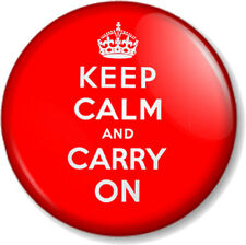 "KEEP CALM AND CARRY ON 1"" 25mm Pin Button Badge Second World War 2nd WWII Sign"