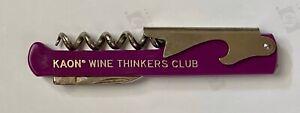Rare Wine Thinkers Club Corkscrew Purple Bottle Opener Folding Foil Cutter Knife