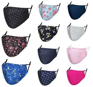 New Men Ladies Washable Reusable Printed Cotton Face Mask Adjustable With Filter