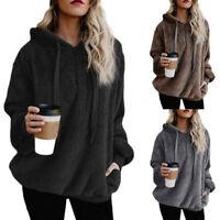 Women Long Sleeve Hoodies Pullover Sweatshirt Zip Tops Warm Outwear Plus Size