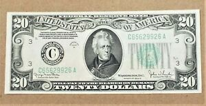 1934 D $20 Federal Reserve Note - Crisp Appears Uncirculated - C65629926A Philly