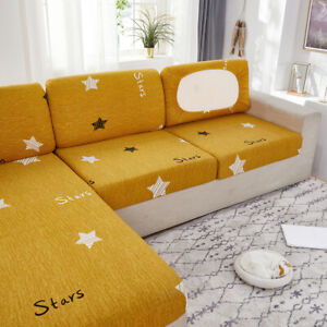 Fitted Sofa Sectional Covers L Shape Cushion Slipcover 2 3 Seater Printed Lycra