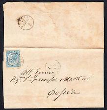 STORIA POSTALE Regno 1864 Piego 15c da Firenze per Pescia (FB5)
