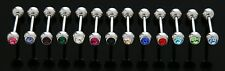 5 14g CZ GEM Tongue Rings WHOLESALE Lot No Duplicates Straight Barbells Piercing