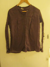 Noa Noa Thin Brown Cotton Embroidered Long Sleeve Blouse Top Size XL / Size 18