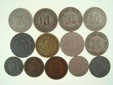 Old 1875-1942 13 pcs German Empire & Reich Pfennig Coin Set  943