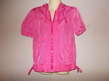 Juicy Couture Womens Size S Solid Pink Hoodie Green Lining Short Sleeves