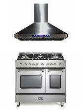 "Verona Prestige Series 36"" All Gas Range Double Oven Hood Set Stainless Steel"