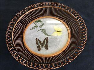 Vintage Cane Woven Basket Fruit Bowl Bamboo Wicker Butterflies