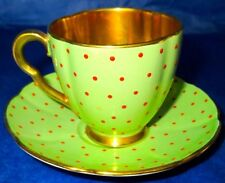 Carlton Ware Green Gold Red Jewels (Polka Dot) Cup & Saucer 1930-40s