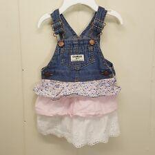 OshKosh 6 Months Overalls Dress Jean Jumper Floral Stripes Lace Tiered Skirt