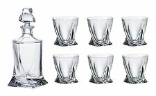 Crystalex Quadro Whisky Set, 28 Oz Decanter with Stopper + Six 11.5 Oz Tumblers