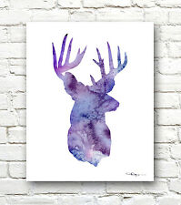 Deer Art Print Abstract Watercolor Painting Whitetail Buck Stag Hunting Decor