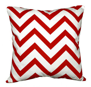 le02a Red Off White Zig Zag Cotton Canvas Cushion Cover/Pillow Case Custom Size