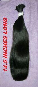 HUMAN HAIR HAIRCUT 14.5 INCH LONG DARK BROWN / BLACK PONYTAIL REBORN DOLLS N95