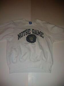 Vintage 90s Champion Notre Dame Medium White Sweatshirt