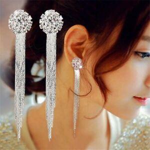 925 Silver Long Tassel Crystal Earrings Women Drop Dangle Stud Wedding Jewelry