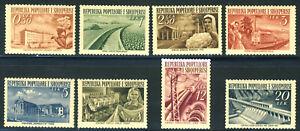 "1953 Albania MVLH OG complete set of 8 stamps ""Local Industry"" Yt 454 - 461"