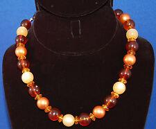 Vintage Orange Gold Yellow Plastic Bead String Necklace Hook No Seams Bakelite