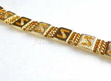24K Yellow Gold Plated Band Link Bracelet 20cm 12mm Xmas Birthday Men Unisex