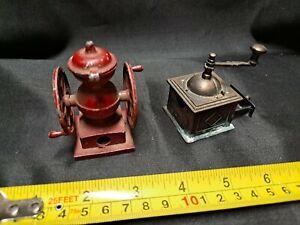 LOT OF 2 VINTAGE COFFE GRINDERS - CAST METAL PENCIL SHARPENERS