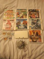Nintendo 3ds Blanco Perla + cargador + Paquete de 14 Juegos Pokemon Mario LEGO DISNEY
