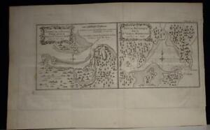 ENDEAVOUR RIVER & BOTANY BAY AUSTRALIA 1774 COOK/BENARD/HAWKESWORTH ANTIQUE MAP