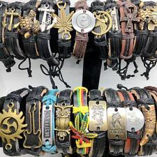 wholesale lots 30pcs Mens Vintage Leather Bracelet Fashion Tether Cuff Jewelry