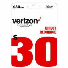 VERIZON Prepaid $30 Refill Top-Up Prepaid Card / DIRECT RECHARGE