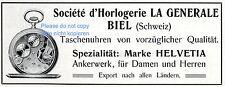 Gousset HELVETIA Biel Publicité V. 1909 Societé d 'HORLOGERIE LA GENERALE Horloge Ad