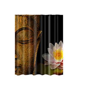 "Fabric Shower Curtain Buddha Lotus Waterproof Bathroom Drapes Divider 71"""