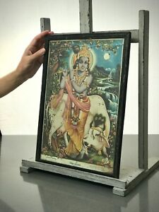 VINTAGE INDIAN LITHO PRINT. KRISHNA & SUCKLING COW, SURABHI. HINDU MYTHOLOGY.