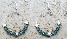 Boucle d'oreille élégante, perle swarovski bleu, etoile en argent tibet earring