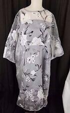 Xianchu Sheer Asian Floral Print Tunic Sack Dress MuuMuu Womens XXL Gray Black