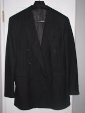 Men's EVAN PICONE Double-Breasted WOOL SUIT 44L Black Vertical Yellow Stripes