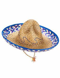 Sombrero Mexiko-Strohhut beige-blau-lila - Cod.82903