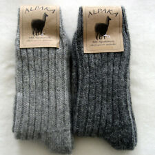 2 Pair Alpaca Chunky Knitted Wool Socks 100% Wool Light And Dark Grey 39 To 46