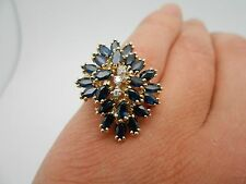 WOW Vintage 14k Yellow Gold Natural Blue Sapphire & Diamond Cocktail Ring Size 8