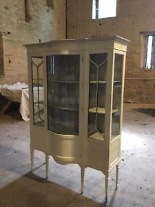 Antique Glass Bow Fronted Cabinet Simply Stunning