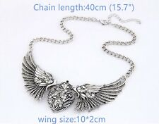 1X Vintage Style Silver Tone Angel Wing Finished Necklace(40cm) Charms  10*2cm