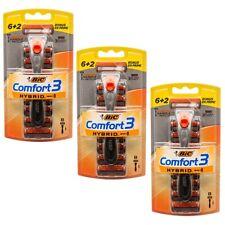 24 Cartridges & 3 Handles Bic Comfort3 Hybrid 3-Blade Men Razor (Total 3 Packs)