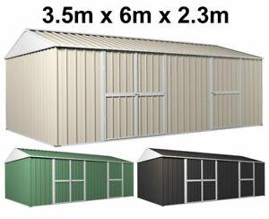 Garden Storage Garage Shed 3.5m x 6m x 2.3m Workshop Side Double doors + PA door